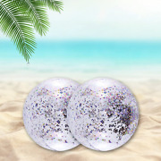 2 Pack Sequin Beach Ball Jumbo Pool Toys Balls Giant Glitter Inflatable Clear Be