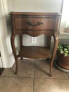 Vintage Antique Nightstand Table Lamp Stand Wood Marble Top Drawer Furniture