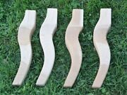 Set Of 4 Cherry Country French Cabriolet Chair Or Table Furniture Legs 12-1/2