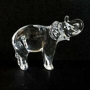 1 One Baccarat Elephant Lead Crystal Figurine Paperweight-signed