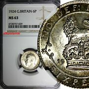 Great Britain George V Silver 1924 6 Pence Ngc Ms63 Light Toning Km 815a.1