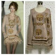 The Real Thing Pole Feather Fringe Long Sleeve Knit Dress No.7059