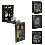 Black Wall Mounted Table Convertible Desk Fold Out Space Saver Chalkboard