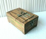 Vintage Handmade Wooden Shaving / Makeup Box With Mirror Old Collectible Bq-83
