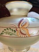 Fenton Glass Gold Satin.millennium Collection Vase Butterfly And Leaf 3286