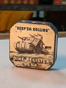 Orig. Wwii Vintage Dime Bank Automatic Register Tank Tin Lithograph Mechanical