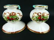 New 2 And Co Holiday Christmas Garland China Candlesticks Candle Holders