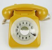 Classic Antique Rotary Retro Landline Desk Phone For Home And Mustard Yellow