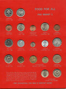 Food For All Fao Money 54 Coins Set Unc Nice Presentation Display 1960and039s 1970and039s