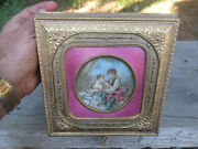 Antique 1800and039s Giant French Gold Gilt Bronze Ormolu Guilloche Jewelry Box 7 1/2