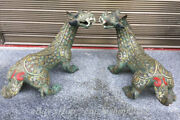 21 Collect Antique Old Chinese Bronze Ware Gild Pixiu Beast Unicorn Statue Pair
