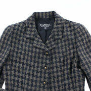 Pole Coco Button Plaid Wool Jacket Navy System P2286 Previously No.5969