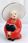 """Vinage Asian Chalkware Figurine Mid Century Coventry Ware Inc. Usa 5.25"""" Red"""