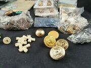 Vintage And Antique Sewing Buttons Bulk Lot Military In Carved Box