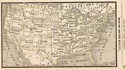 1888 Antique United States Map Rare Miniature Size Collectible Usa Map 9040
