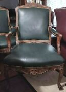 ❤️whittemore-sherrill Limited Usa Green Leather Accent Chair Excellent L@@k