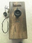 Vintage Antique Rare Collectible Western Electric Original Oak Wall Telephone