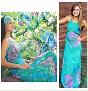 268.00 Nwt Lilly Pulitzer Franconia Maxi Multi Lilly Lounge 04 Holy Grail