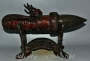 16 Old China Ox Horn Carved Dynasty Dragon Head Writing Brush Pen Base Statue