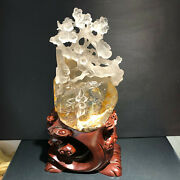 19.36lb Natural White Quartz Crystal Carved Birds And Flowers Healing+stand.ly26