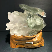 6.3lb Natural Green Ghost Quartz Crystal Carved Mandarin Duck Healing+stand.ly30