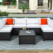 7 Pcs U-style Outdoor Patio Furniture, Wicker Tableand6 Seats W/ Cushions Pillows