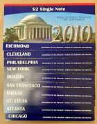 2010 Bep Complete Set Of 10 Andlsquo2 Single Noteandrsquo Federal Reserve Banks In Ogp