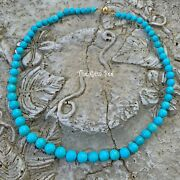 18k Yellow Gold Sleeping Beauty Turquoise Round Sphere Bead 19 Necklace