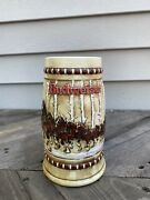 Anheuser Busch Budweiser Stein Christmas Holiday Rare 2 1981 Clydesdale Horses