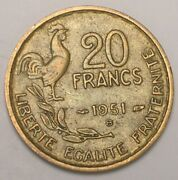 1951 B France French 20 Francs Rooster Coin Vf+