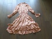 New Latest Rococo Sand Stars Sequin Long Puffy Sleeves Brown Dress Sz Small