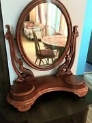 Antique Vintage Carved Mahogany Swivel Shaving Vanity Mirror Old Cheval Stand