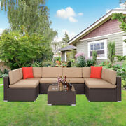 Large Size 7pcs Furniture Couch Wicker Rattan /w Cushions Patio Sectional Sofa