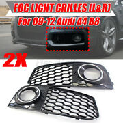 Mesh Fog Light Honeycomb Grill Rs4 Style For Audi A4 B8 2009-2012 Chrome Ring