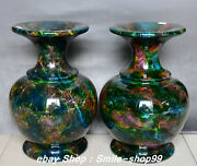 13 Exquisite Taiwan Seven Colored Jade Pure Hand Carving Vase Bottle Jug Pair