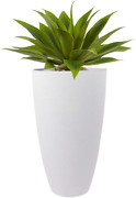 La Jolie Muse Tall Planters Outdoor Indoor - 20 Inch Modern White Flower Pots Wi