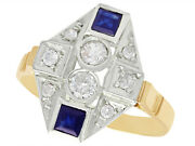 Vintage 0.30ct Diamond And 0.42ct Sapphire 15k Yellow Gold Dress Ring Size 8.625