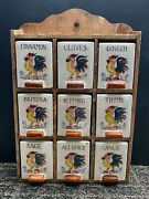 Vintage Spice Rack Ceramic Jars Containers Chicken Rooster Wood Shelf Japan