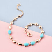 Lucyq Sleeping Beauty Turquoise Drop Bracelet Rose Gold Plated Silver 7.5 And039and039