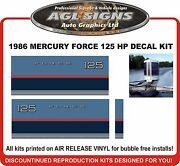1986 Mercury Force 125 Hp Reproduction Outboard Decal Set