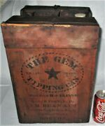 Antique Usa Primitive 1884 Star Boston Wood Tin Oil Can Gem Tipping Co. Art Sign