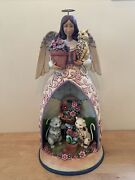 Large 20 Jim Shore Heartwood Creek Garden Angel With Cats 4011483 Solar Powered