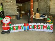 12 Ft. Long Outdoor Inflatable Merry Christmas Sign W/santa Clause And Elf 1k