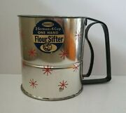 Vintage Androck Mcm Stainless Flour Sifter With Red Starburst Original Label