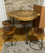 Vintage Asymmetric Wood Slab Dining Table And 4 Stools. Nyc Local Pickup Only