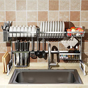 Sink Dish Drying Rack Cutlery Holders Drainer Shelf For Kitchen Supplies Silver