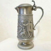 Decorative Tin Beer Glass Goblet Pitcher Rein Zinn Germany Silver Etched Hunting