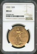 1922 20 Saint Gaudens Gold Double Eagle Ms 61 Ngc Better Date In Grade