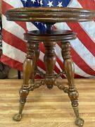Antique 1800's Antique Holtzman And Sons Adjustable Piano Stool Glass Ball Feet