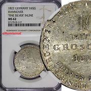 Germany Hannover Silver 1822 16 Gute Groschen Ngc Ms62 Rare Top Graded Km1377